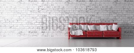 Red Sofa Over The Brick Wall 3D Render
