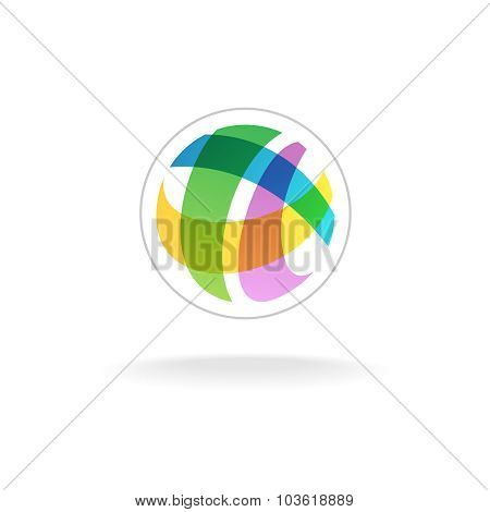 Abstract Colorful Round Sphere Logo Template