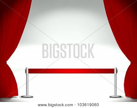 Stage With Curtains And Red Ribbon