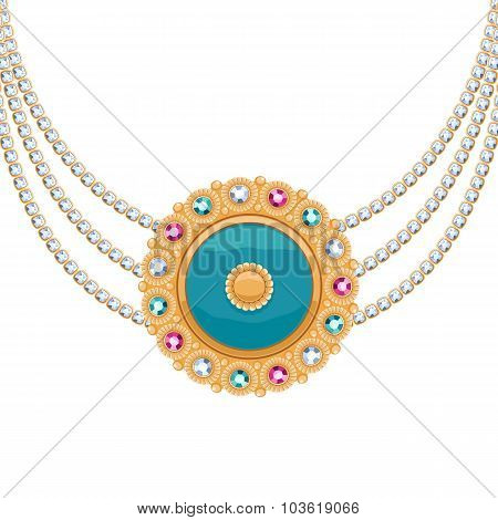 Golden round pendant necklace with jewelry gemstones on diamond chains.