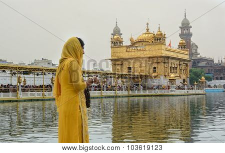 Indian Woman Standing In Amritsar