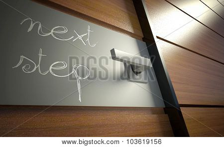 Nexy Step Scratched On Office Door, Business Concept