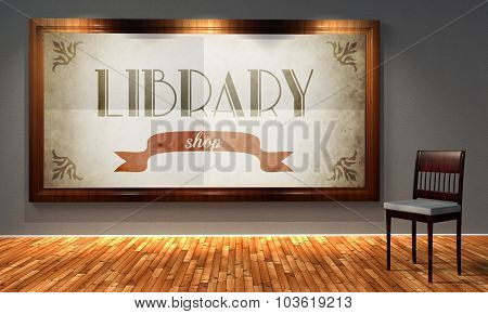 Library Vintage Shop In Old Fashioned Frame, Retro Style