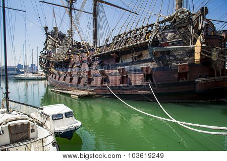 Il Galeone Neptune Pirate Ship In Genoa, Italy