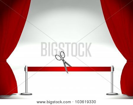 Empty Stage, Red Ribbon With Pair Of Scissors
