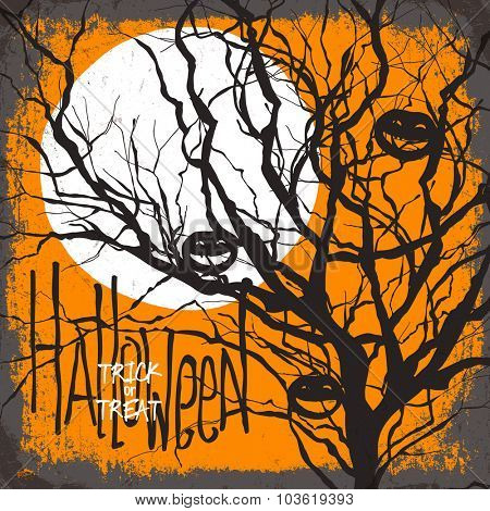 Halloween vector illustration. Dry tree, full moon and pumpkins. Trick or treat