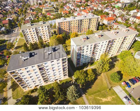Aerial photography of suburban houses. Typical town suburban architecture ( Functionalism ) in Central and East Europe.