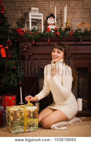 Young Girl With Christmas Gifts