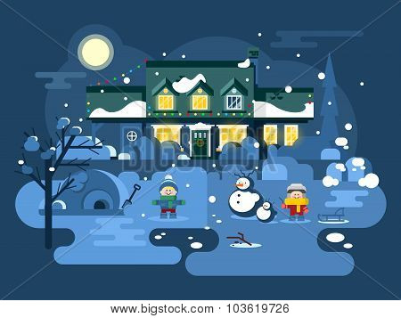 Winter night children play