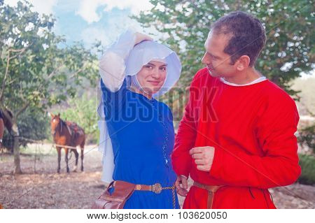 Young Couple Costumed As Medieval People