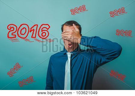 man 2016 Male businessman closed his eyes surprised portrait of