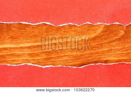 Wooden Background With Red Torn Paper