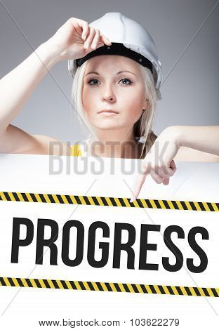 Progress Sign On Template Board, Worker Woman