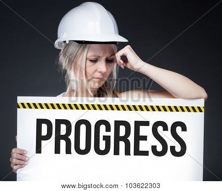 Progress Sign On Information Board, Thinking Worker