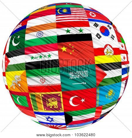 Collage Of The Flags Of Asian Countries