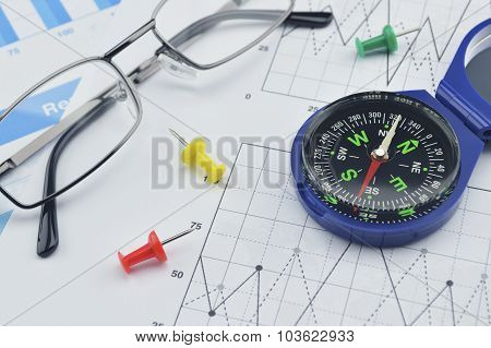 Blue Compass, Pin And Glasses On Graph Paper, Success Concept