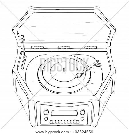 Vector Illustration Of Retro Portable Gramophone Made In Thumbnail Style