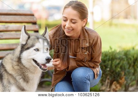 Nice girl playing with dog