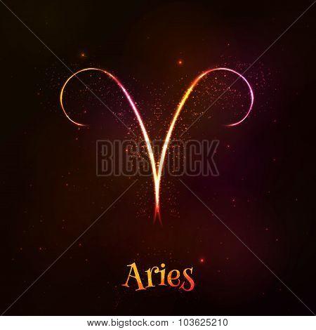 Shining neon zodiac Aries vector symbol