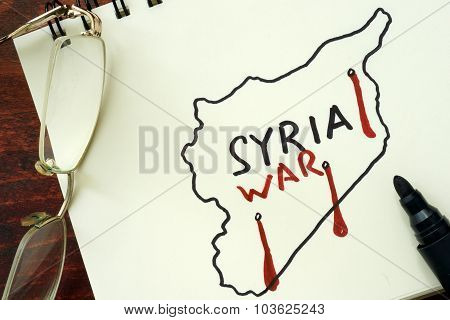 Syrian map with words Syria and war.