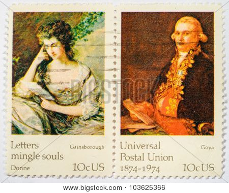 Us - Circa 1974: A Double Stamps Printed In Us Shows Paintings By Goya And Gainsbourough, Ceries Fam