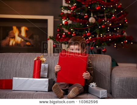 Little Boy Hiding Behind Gift Box At Christmas