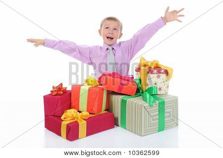 boy with a bunch of gifts