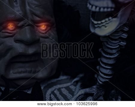 Halloween glowing eyes with Skeleton and Jaw
