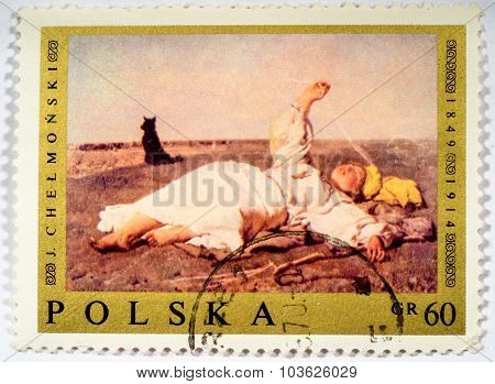 Moscow, Russia - October 3, 2015: A Stamp Printed In Poland Shows Polish Painting Indian Summer By J
