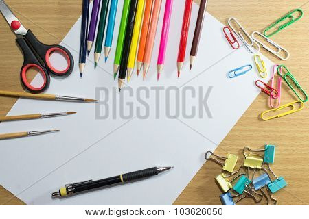 Paper Or School And Frame Of Colorful School Supplies And Equipment Education Art On Background