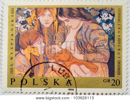 Moscow, Russia - October 3, 2015: A Stamp Printed In Poland Shows Polish Painting Motherhood, By Mot