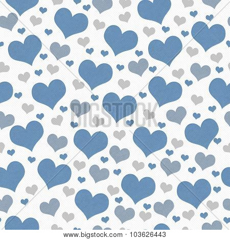 Blue, White And Gray Hearts Tile Pattern Repeat Background