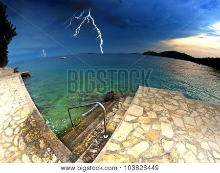 Beach And Clear Sea In Croatia, Storm And Thunderstorm