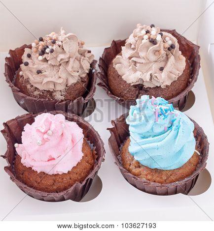 Four Cupcakes In White Box