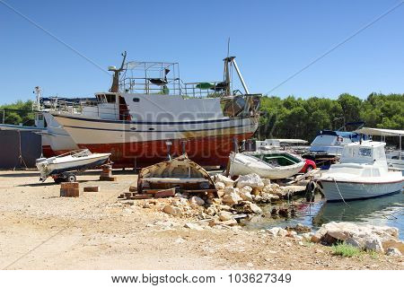 Small Sea Shipyard And Harbor, Ship Repair, Croatia Dalmatia