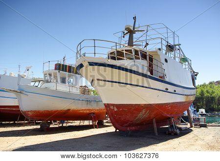 Ship Repair On The Ground In Shipyard Or Harbor, Croatia Dalmatia