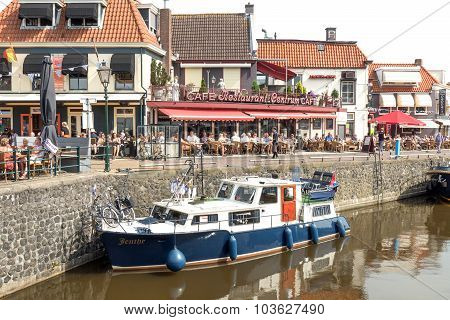 NETHERLANDS - LEMMER - MEDIA AUGUST 2015: Pleasure yacht in the port of Lemmer.