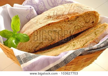 Fresh Homebaked Wheat Bread In The Basket.