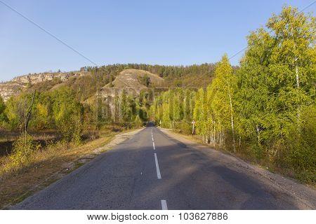 mountain road autumn.