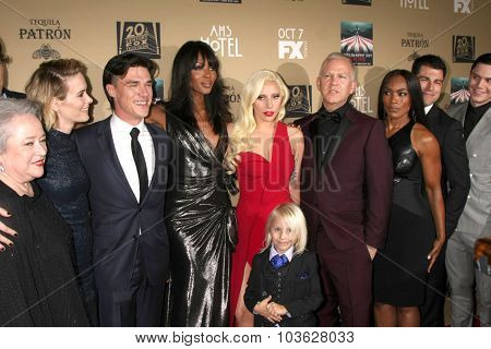 LOS ANGELES - OCT 3:  Kathy Bates, S Paulson, Finn Wittrock, Naomi Campbell, Lady Gaga, Ryan Murphy, Angela Bassett at the