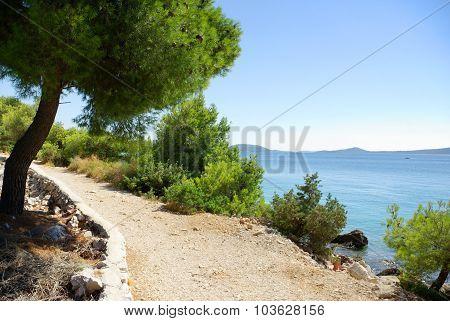 Sandy Road Along The Beach And The Sea, Croatia Dalmatia