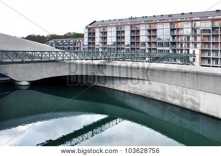 Modern hydroelectric power plant in Kempten, Germany