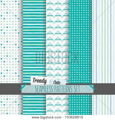 Set of white and blue dotted stripes and chevron seamless patterns