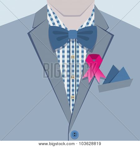 Fashionable male in blue suit and pink ribbon pin on collar