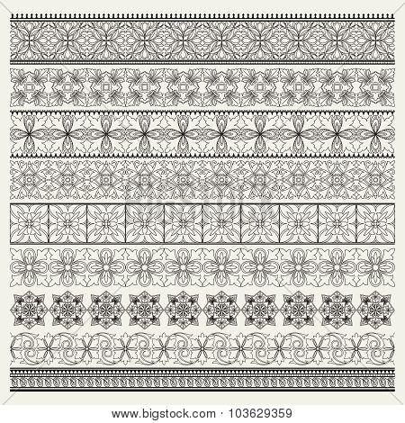 Set Of Ornamental Borders, Vintage Style
