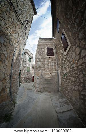 Narrow Old Street In Stone, Croatia