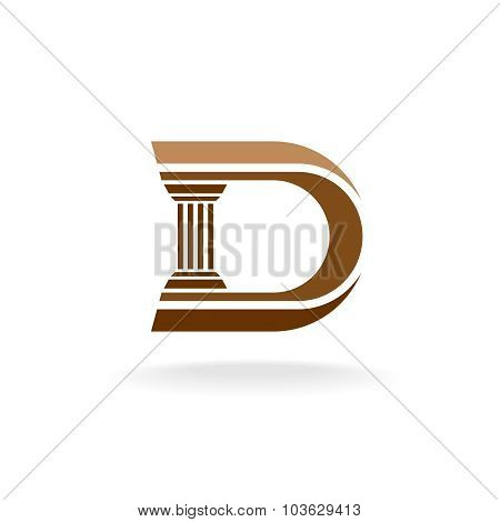 Letter D With Column Integrated Sign. Lawyer, Business, Architecture Designer Logo Template.