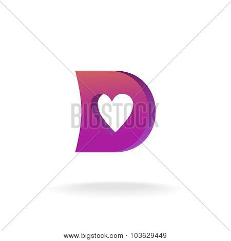 D Letter Logo Template. Violet And Purple Colors With Heart-shaped Cutout.