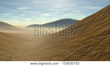 hilly landscape with some sands