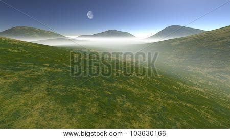 hilly terrain enveloped in fog